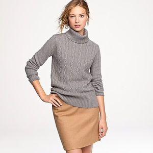 J. Crew Cambridge Cable Knit Turtleneck Sweater